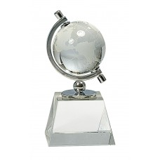 6 inch Crystal Spinning Globe with Clear Base